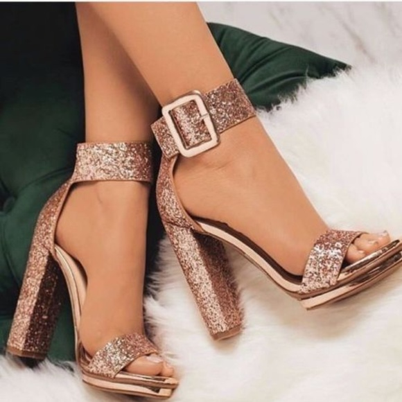 Shop - rose gold glitter chunky heels